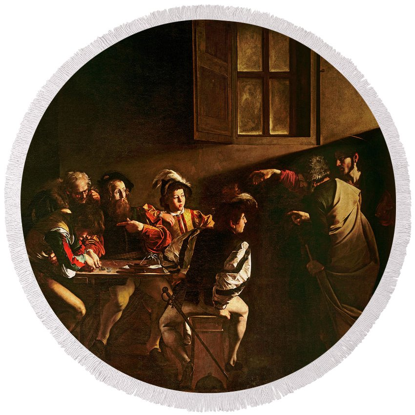 Chiaroscuro Round Beach Towel featuring the painting The Calling Of St Matthew by Michelangelo Merisi o Amerighi da Caravaggio