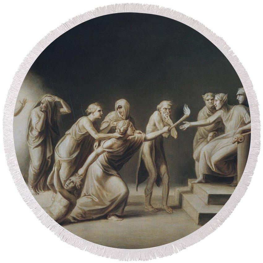 John Vanderlyn Round Beach Towel featuring the painting The Calumny Of Apelles by John Vanderlyn