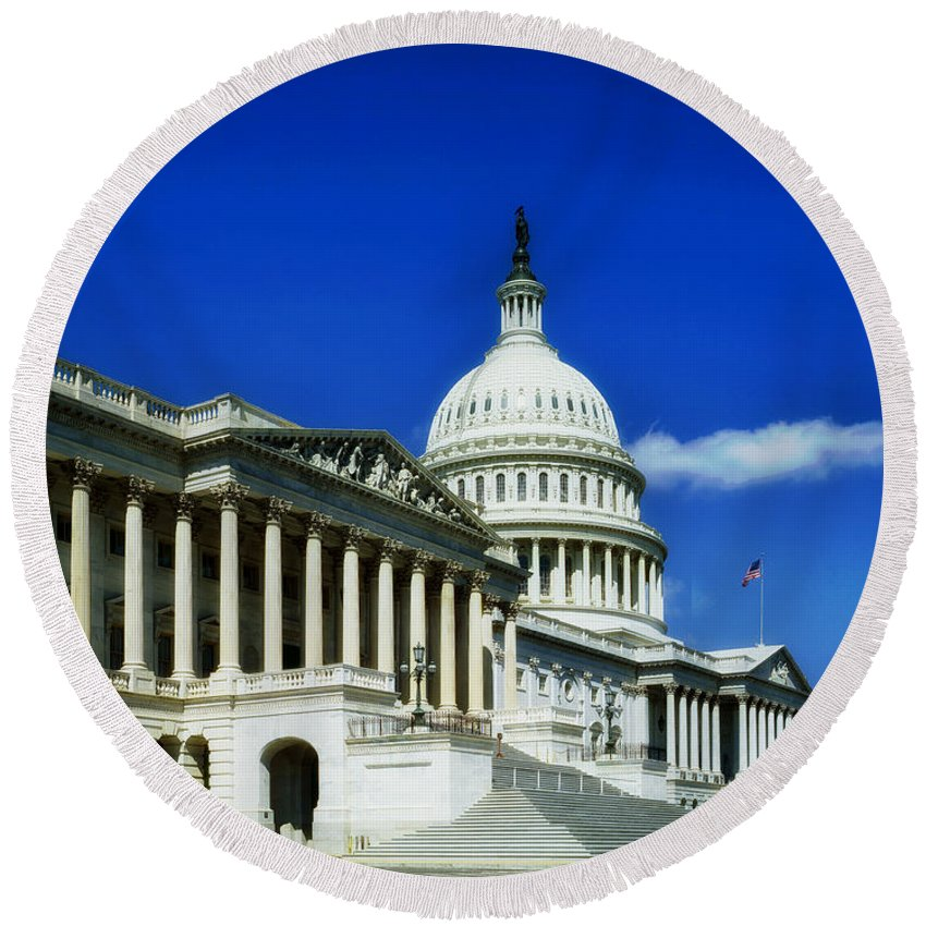 Washington D.c. Round Beach Towel featuring the photograph United States Capitol by Mountain Dreams