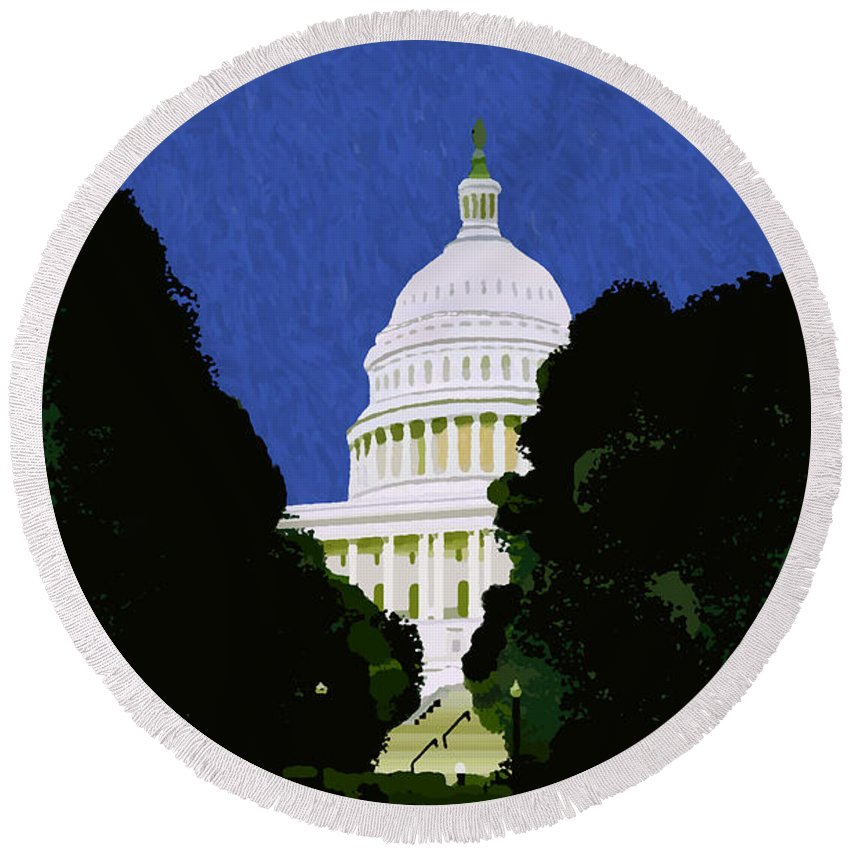 Capitol Round Beach Towel featuring the painting The Capitol by Pharris Art