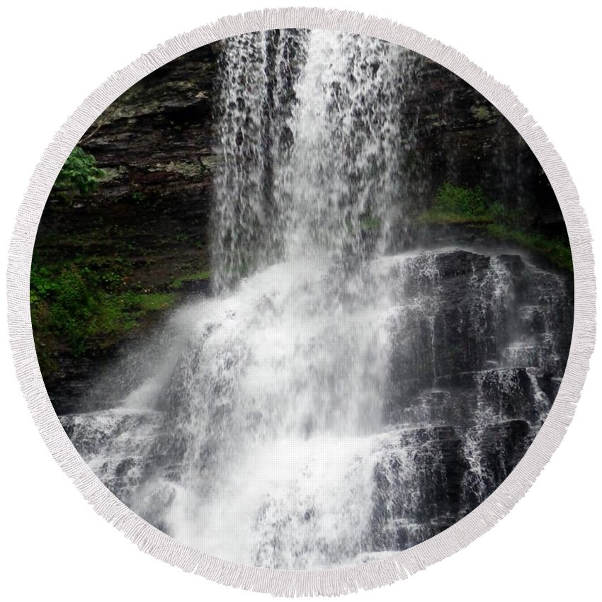 Waterfall Round Beach Towel featuring the photograph The Cascades 1 by Jannice Walker