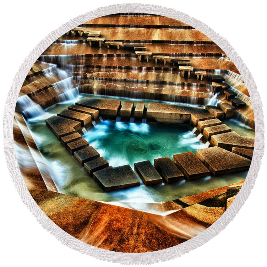 Fort Worth Water Gardens Round Beach Towel featuring the pyrography The Cascading Falls - Fort Worth Water Garden by Brian Orlovich
