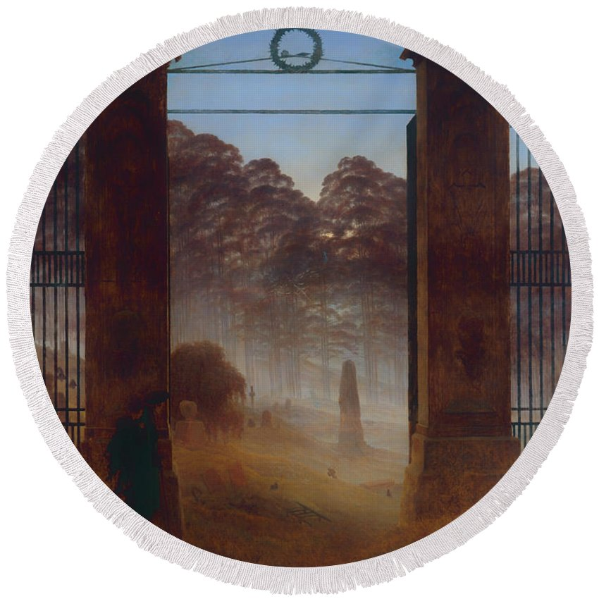 Painting Round Beach Towel featuring the painting The Cemetery by Mountain Dreams