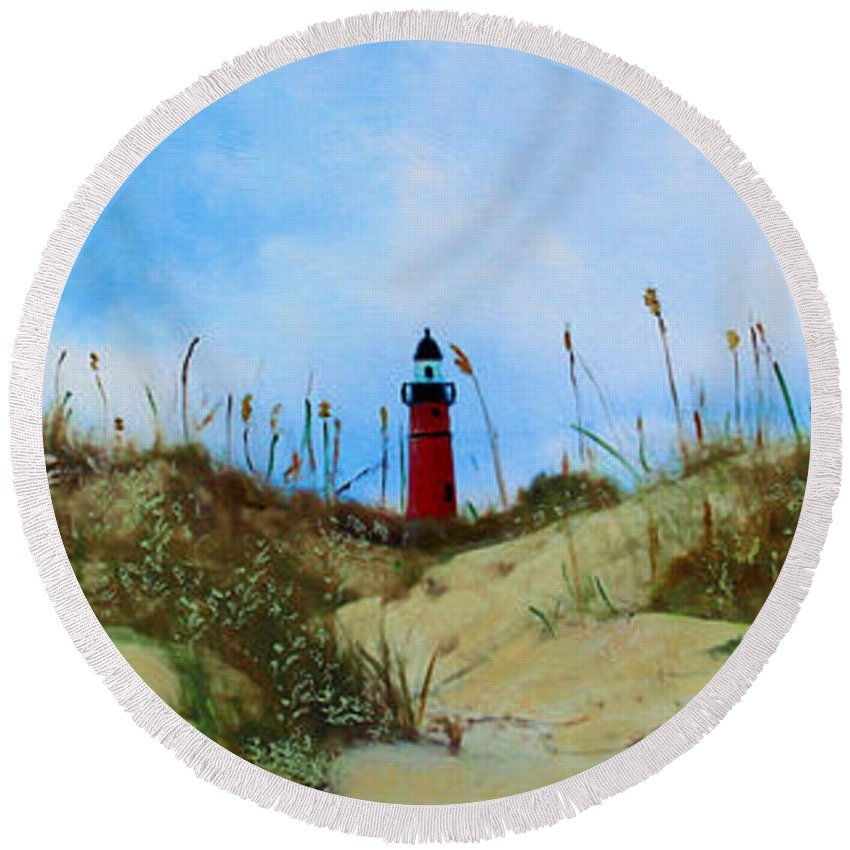 Lighthouse Round Beach Towel featuring the mixed media The Center Of Attention by Deborah Boyd