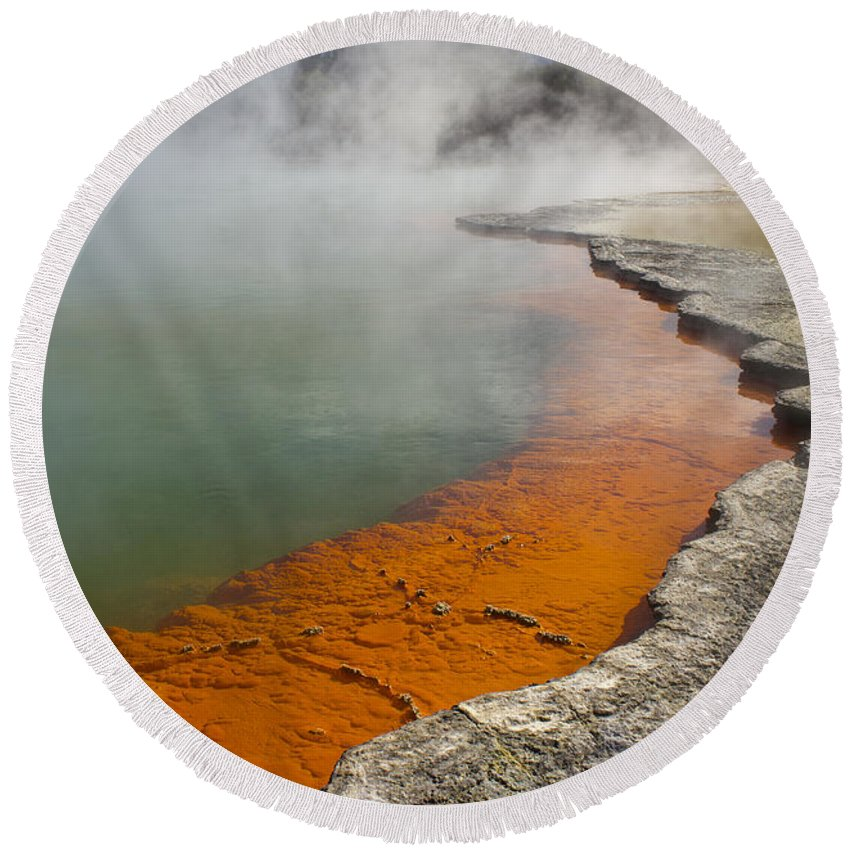 New Zealand Round Beach Towel featuring the photograph The Champagne Pool At Wai O Tapu by Venetia Featherstone-Witty