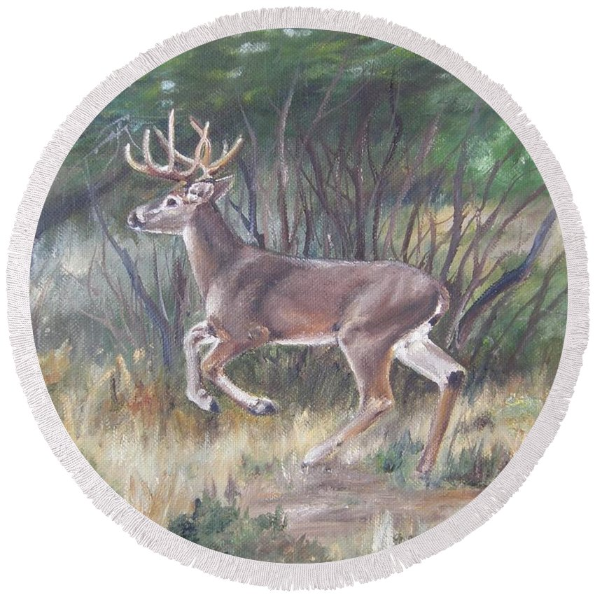 Deer Round Beach Towel featuring the painting The Chase Is On by Lori Brackett