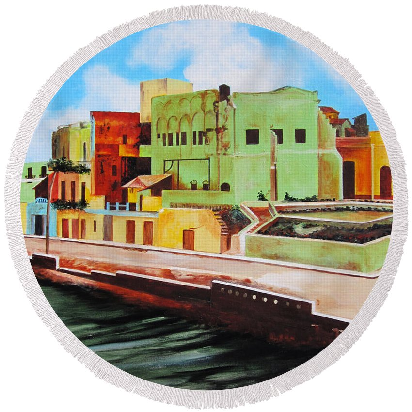 Matanzas Round Beach Towel featuring the painting The City Of Matanzas In Cuba by Dominica Alcantara