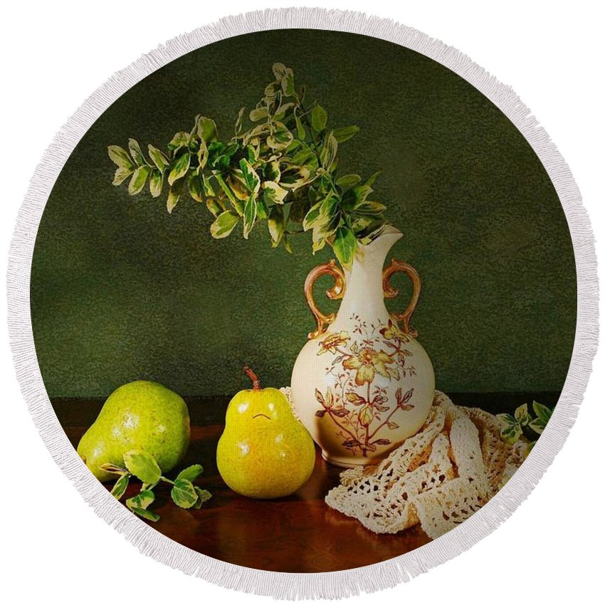 Still Life Round Beach Towel featuring the photograph The Classical Urn by Diana Angstadt