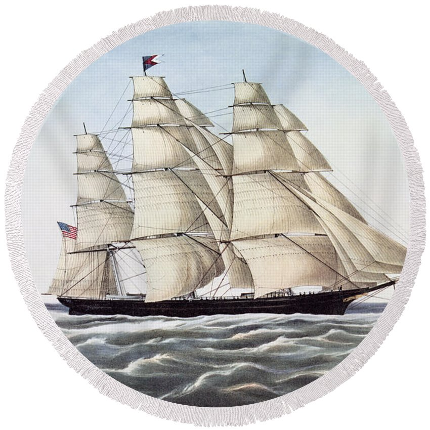 Boat Round Beach Towel featuring the painting The Clipper Ship Flying Cloud by Anonymous