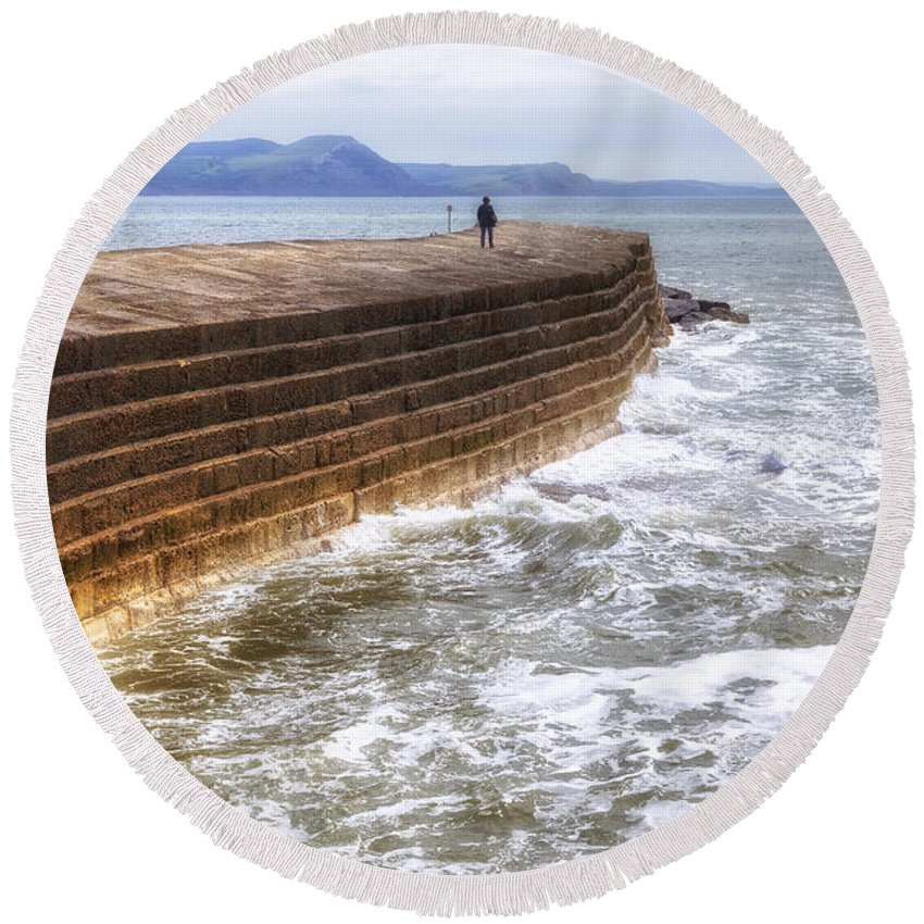 The Cobb Round Beach Towel featuring the photograph The Cobb - Lyme Regis by Joana Kruse