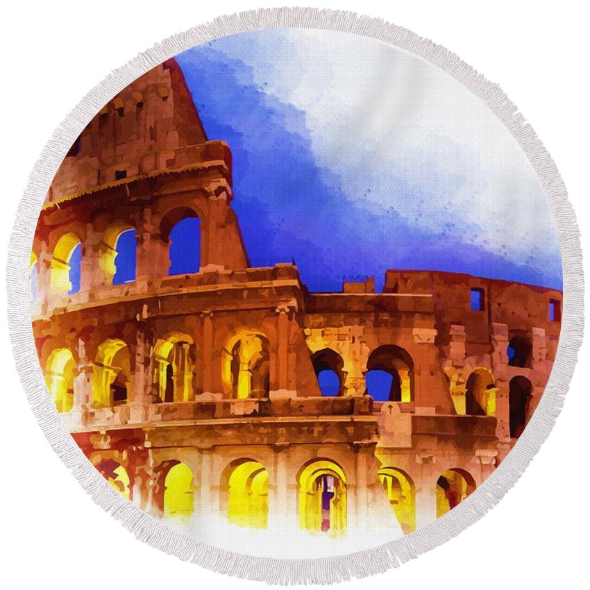 Print Round Beach Towel featuring the digital art The Colosseum by Don Kuing