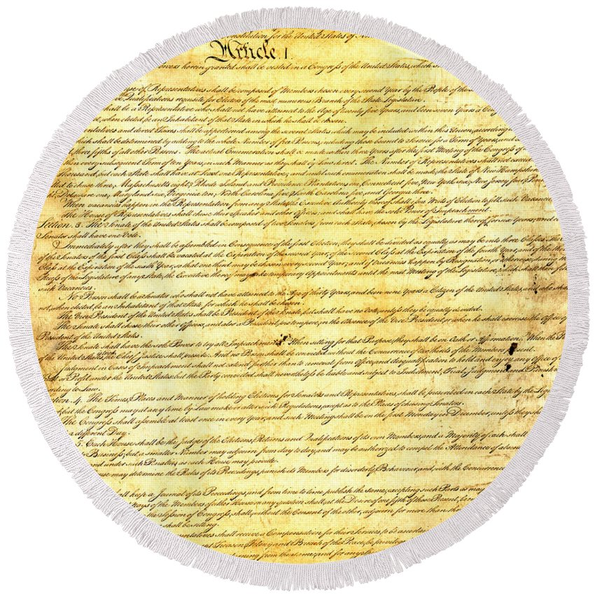 Constitution Round Beach Towel featuring the mixed media The Constitution Of The United States Of America by Design Turnpike