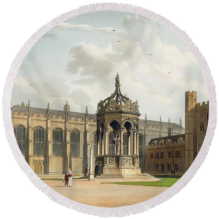 Built By Ralph Simons Round Beach Towel featuring the drawing The Court Of Trinity College by William Westall