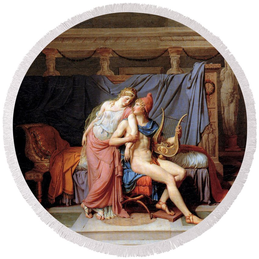 Jacques Louis David Round Beach Towel featuring the digital art The Courtship Of Paris And Helen by Jacques Louis David