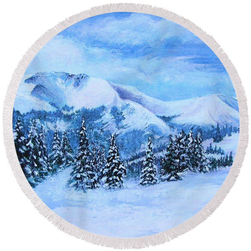 Cold Air Round Beach Towel featuring the painting The Covering by Margaret Bobb