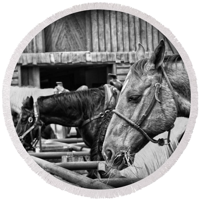 Horses Round Beach Towel featuring the photograph The Cowboy by The Artist Project