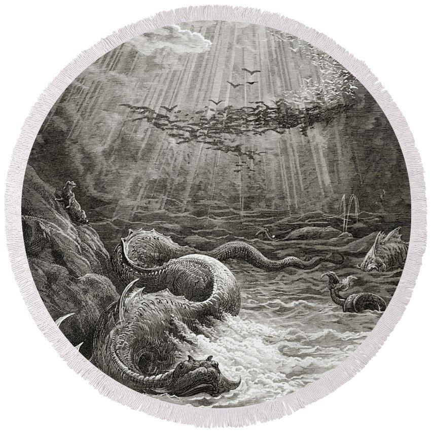Gustave Dore Round Beach Towel featuring the painting The Creation Of Fish And Birds by Gustave Dore