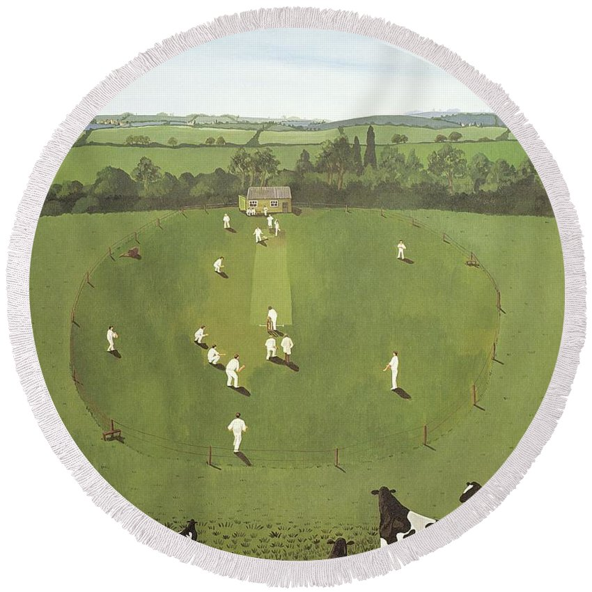Contemporary Round Beach Towel featuring the photograph The Cricket Match by Maggie Rowe