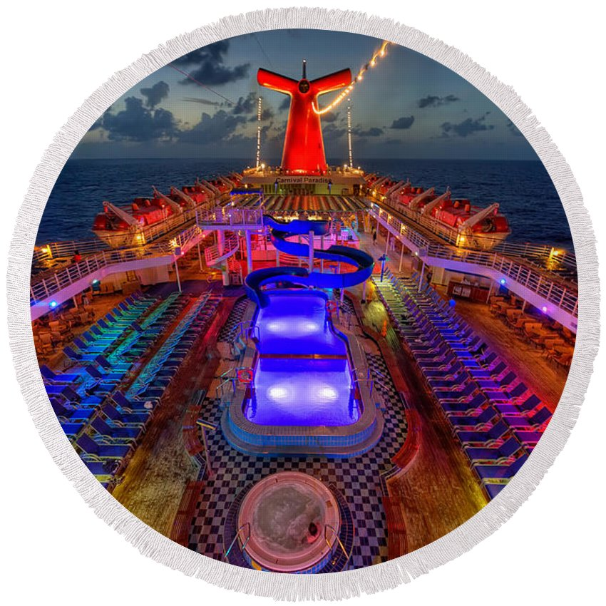 Cruise Ship Round Beach Towel featuring the photograph The Cruise Lights At Night by Michael Ver Sprill