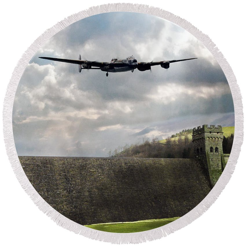 Dam Busters Lancaster Round Beach Towel featuring the digital art The Dambusters Over The Derwent by J Biggadike