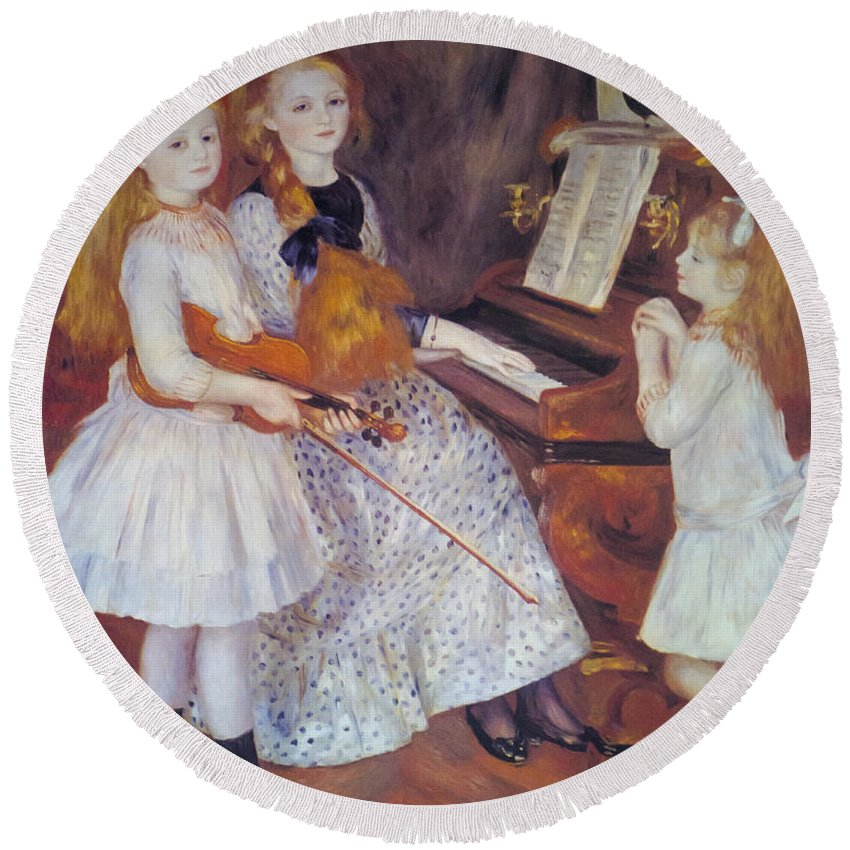 The Daughters Of Catulle Mendes Round Beach Towel featuring the digital art The Daughters Of Catulle Mendes by Pierre Auguste Renoir