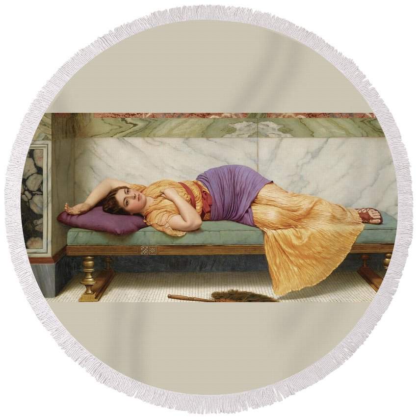 John William Godward Round Beach Towel featuring the painting The Day Dream by John William Godward