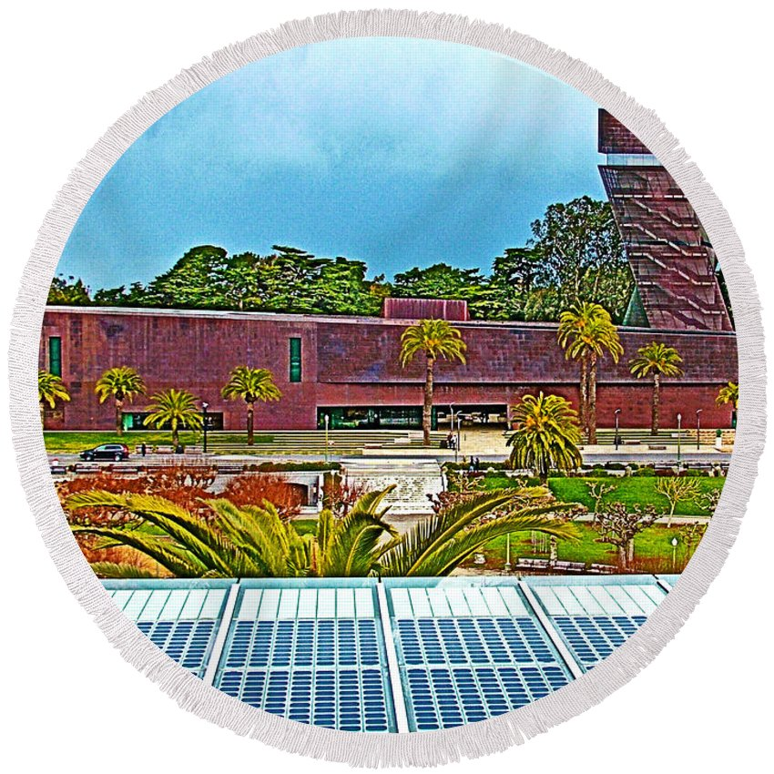 The De Young Fine Arts Museum From Roof Of California Academy Of Sciences In Golden Gate Park In San Francisco Round Beach Towel featuring the photograph The De Young Fine Arts Museum From Roof Of California Academy Of Sciences In Golden Gate Park-ca by Ruth Hager