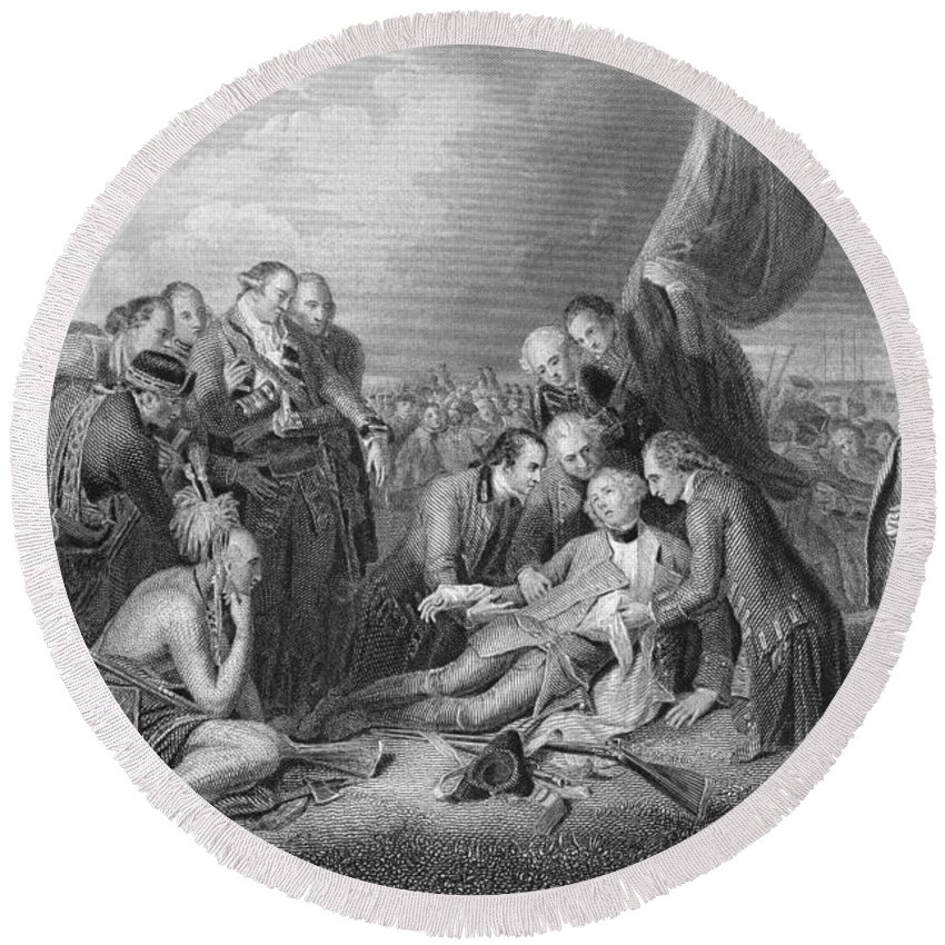 English Soldier Round Beach Towel featuring the photograph The Death Of General Wolfe, 1759, From The History Of The United States, Vol. I, By Charles Mackay by Benjamin West