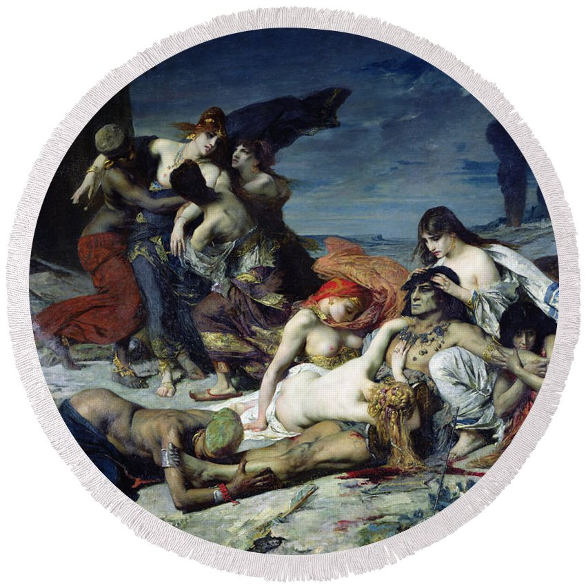 La Mort De Round Beach Towel featuring the painting The Death Of Ravana by Fernand Cormon
