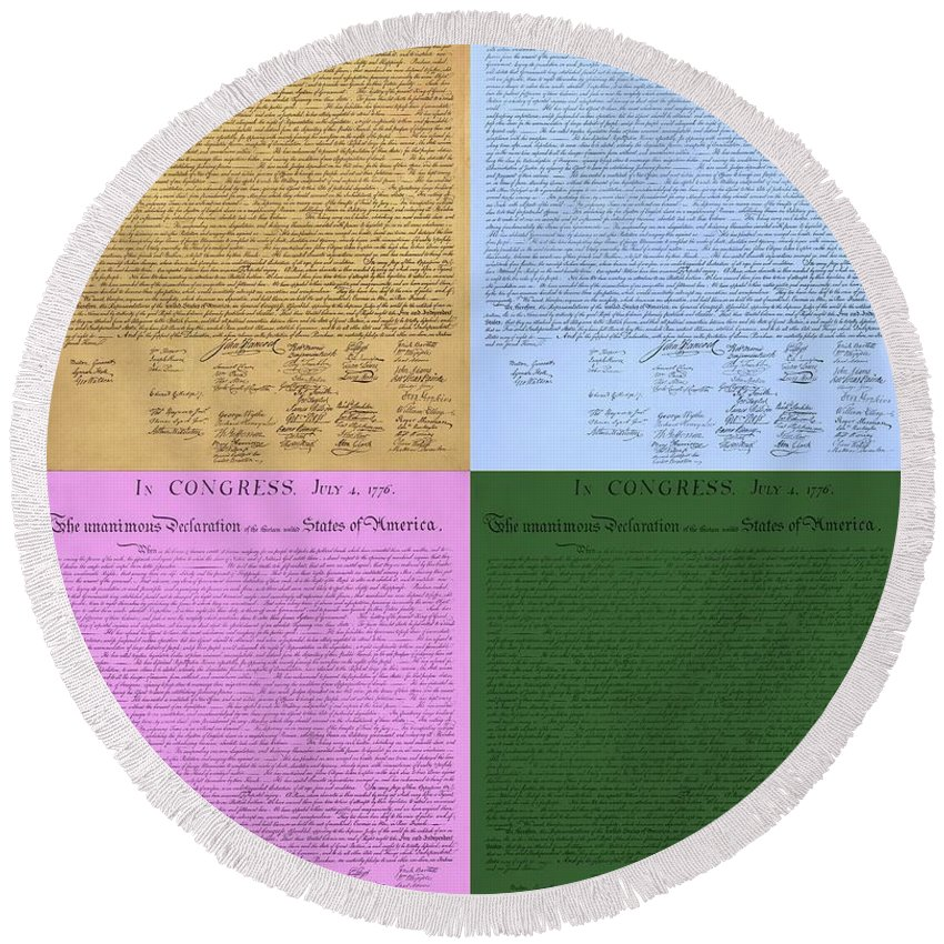 The Declaration Of Independence Round Beach Towel featuring the photograph The Declaration Of Independence In Colors by Rob Hans