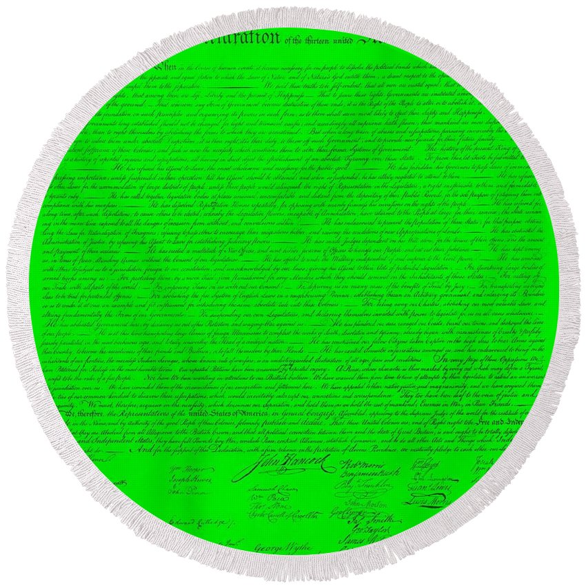 The Declaration Of Independence Round Beach Towel featuring the photograph The Declaration Of Independence In Green by Rob Hans