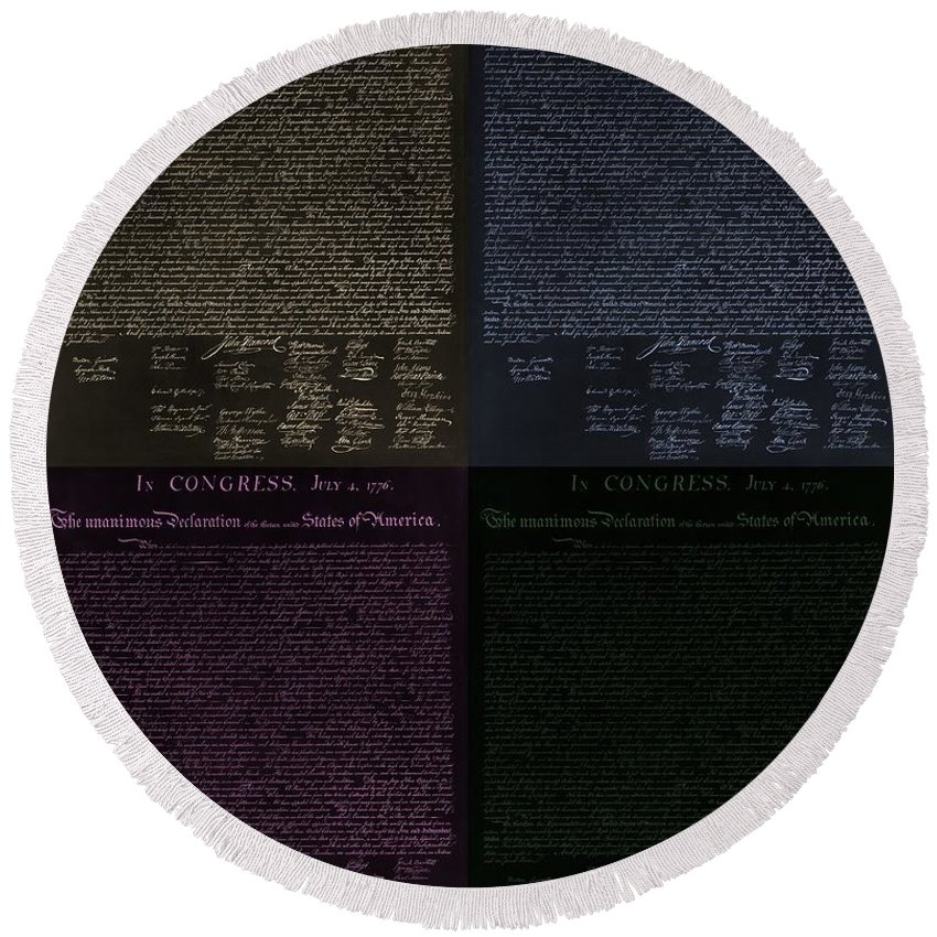 The Declaration Of Independence Round Beach Towel featuring the photograph The Declaration Of Independence In Negative Colors by Rob Hans
