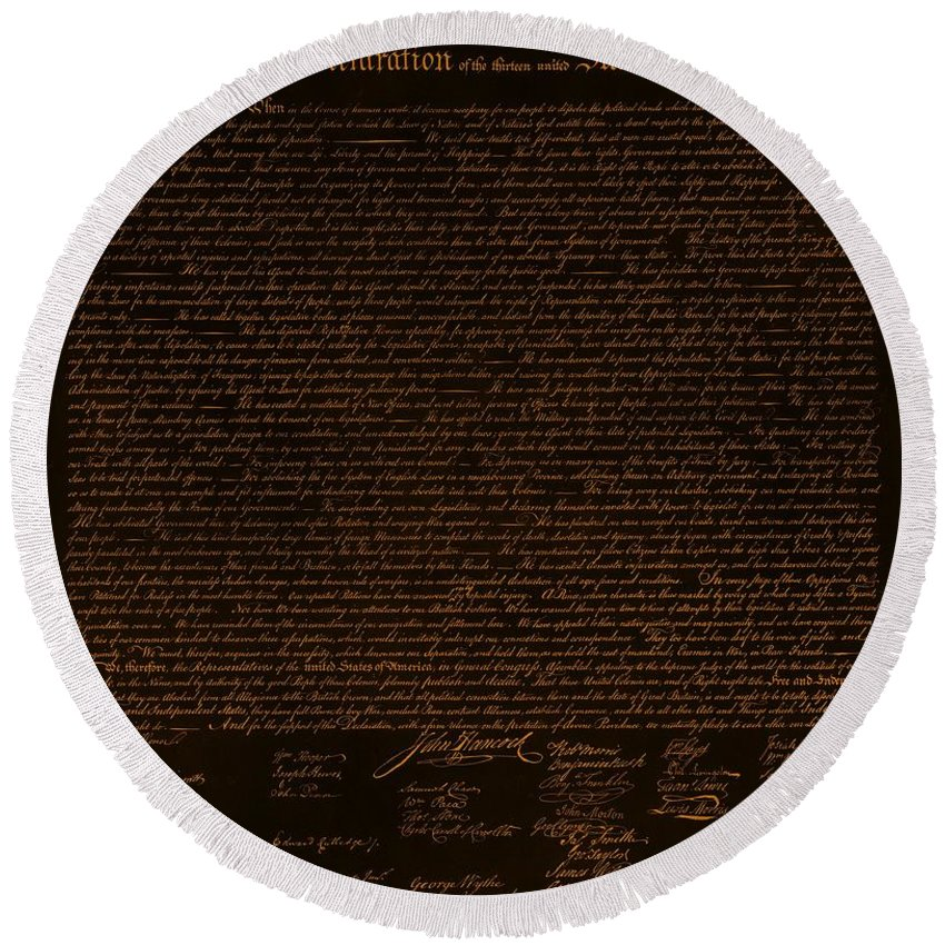 The Declaration Of Independence Round Beach Towel featuring the photograph The Declaration Of Independence In Negative Orange by Rob Hans