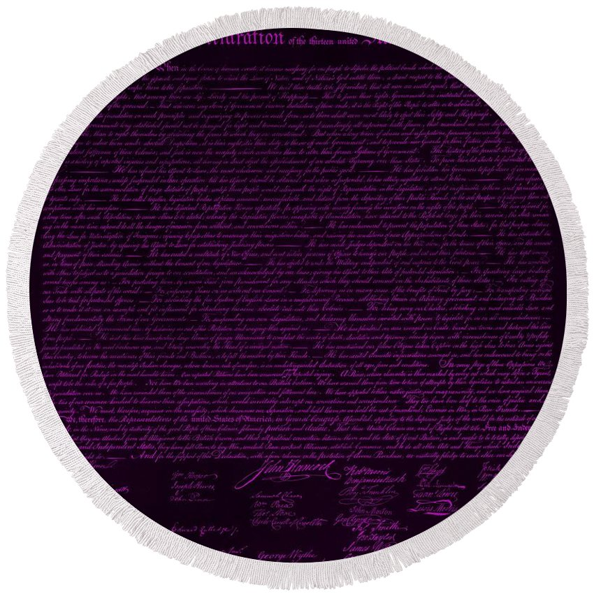 The Declaration Of Independence Round Beach Towel featuring the photograph The Declaration Of Independence In Negative Purple by Rob Hans