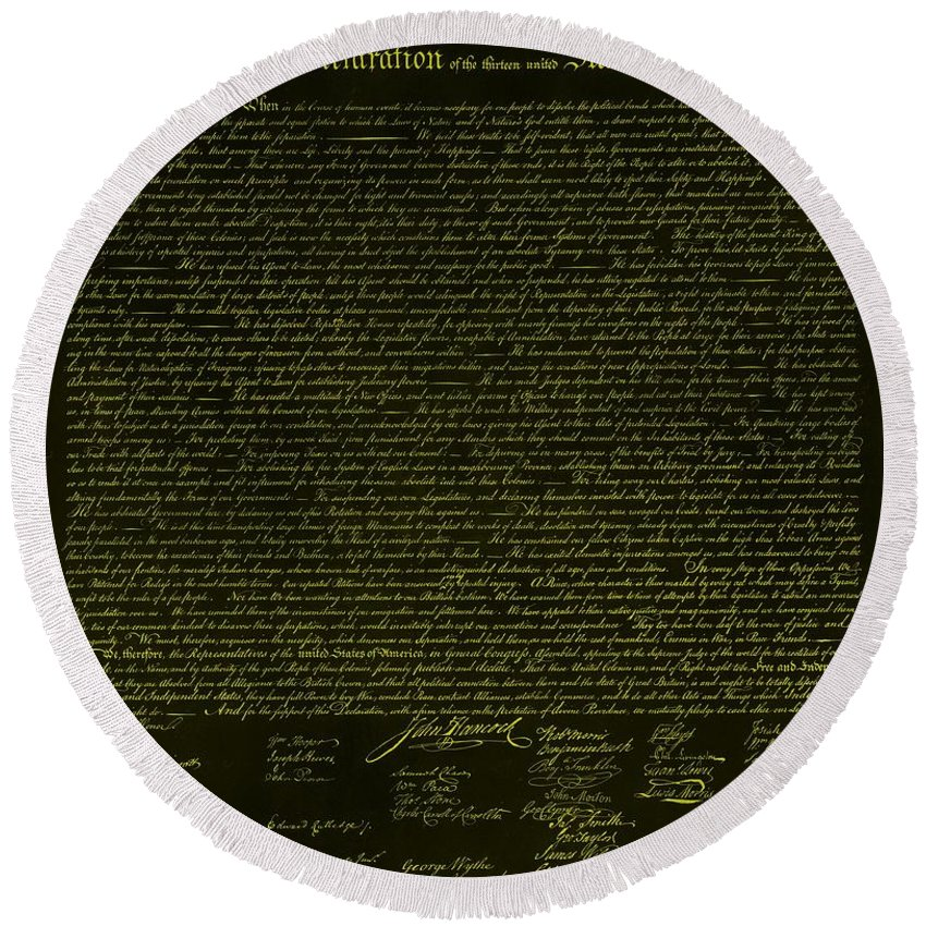 The Declaration Of Independence Round Beach Towel featuring the photograph The Declaration Of Independence In Negative Yellow by Rob Hans