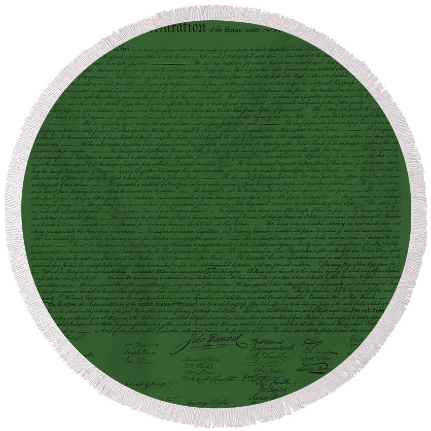 The Declaration Of Independence Round Beach Towel featuring the photograph The Declaration Of Independence In Olive by Rob Hans