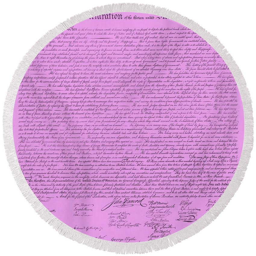 The Declaration Of Independence Round Beach Towel featuring the photograph The Declaration Of Independence In Pink by Rob Hans