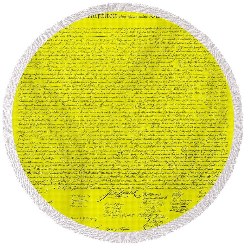 The Declaration Of Independence Round Beach Towel featuring the photograph The Declaration Of Independence In Yellow by Rob Hans