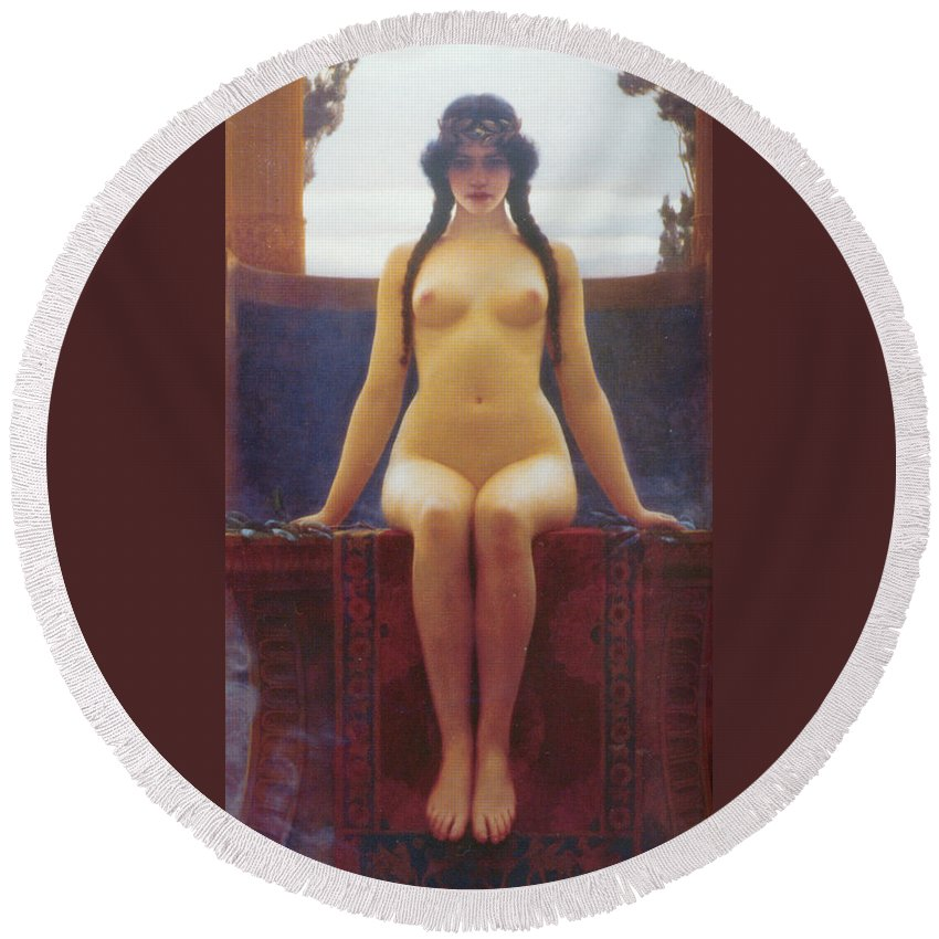 The Delphic Oracle Detail Round Beach Towel featuring the digital art The Delphic Oracle Detail by John William Godward