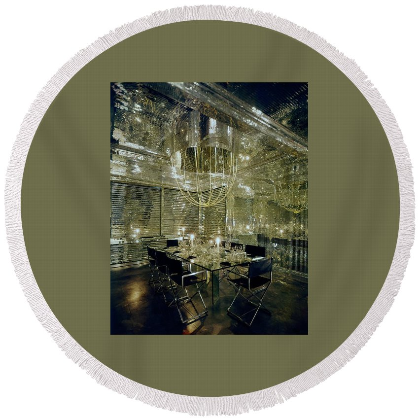 Decorative Art Round Beach Towel featuring the photograph The Dining Room Of Ara Gallant's Apartment by William Grigsby