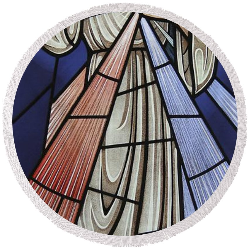 The Divine Mercy Round Beach Towel featuring the glass art The Divine Mercy by Gilroy Stained Glass