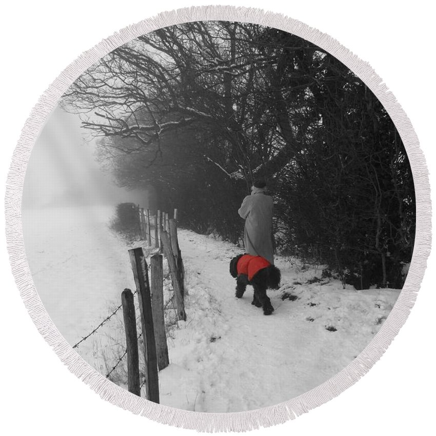 Dog Round Beach Towel featuring the photograph The Dog In The Red Coat by Vicki Spindler