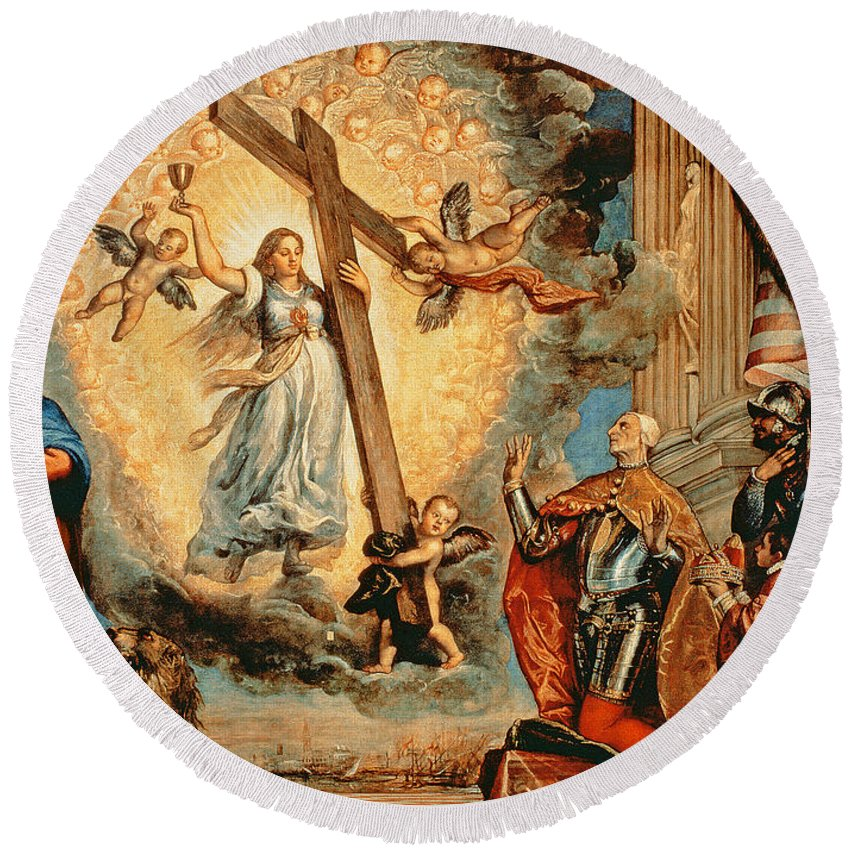 Apparition Round Beach Towel featuring the painting The Doge Grimani Kneeling Before Faith by Titian