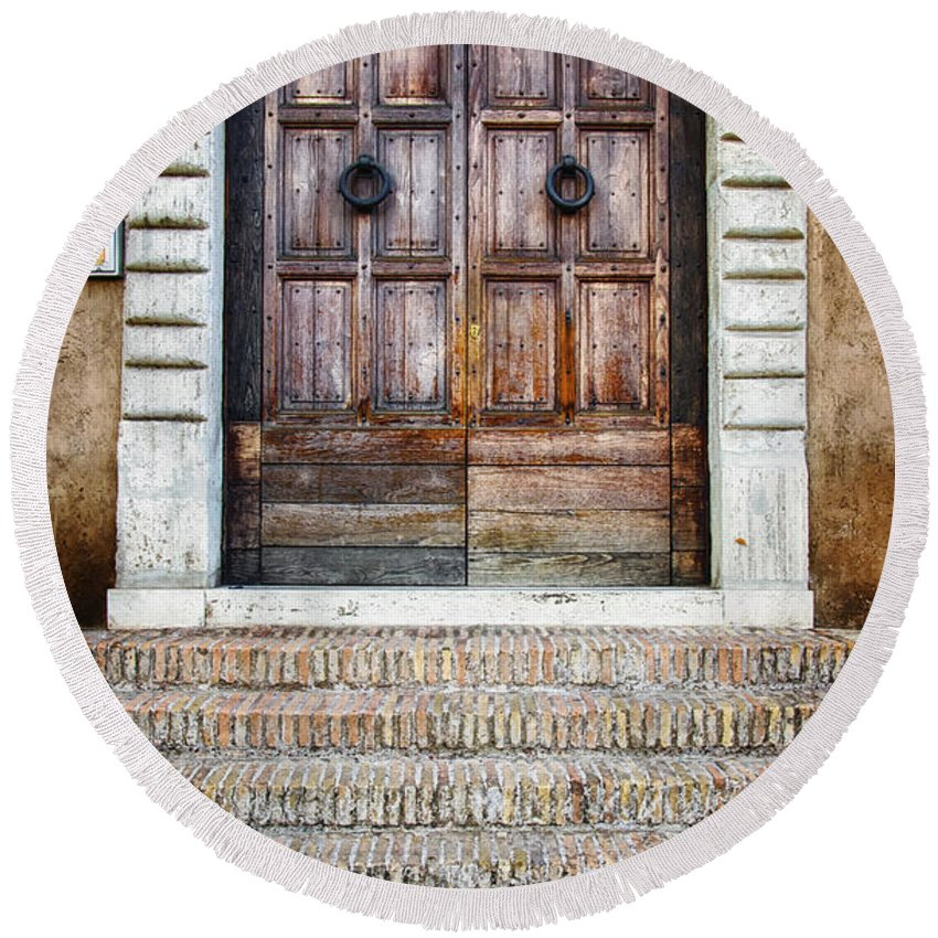Aged Round Beach Towel featuring the photograph The Door At Number 5 by Joan Carroll