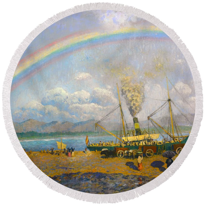 Painting Round Beach Towel featuring the painting The Downpour by Mountain Dreams