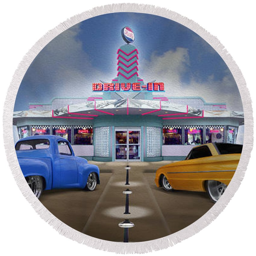 1950s Drivein Round Beach Towel featuring the photograph The Drive In by Mike McGlothlen