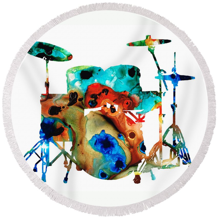 Drum Round Beach Towel featuring the painting The Drums - Music Art By Sharon Cummings by Sharon Cummings