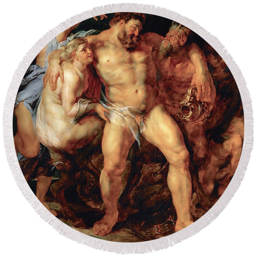 Peter Paul Rubens Round Beach Towel featuring the painting The Drunken Hercules by Peter Paul Rubens