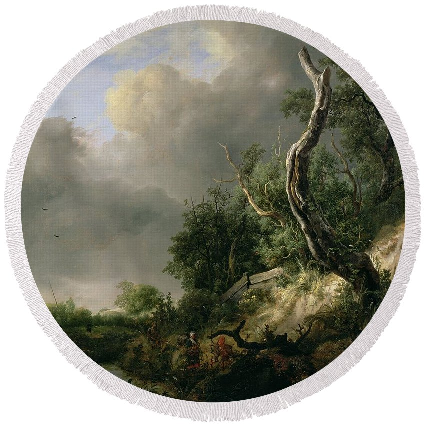 Landscape Round Beach Towel featuring the painting The Dunes Near Haarlem by Jacob Isaaksz. or Isaacksz. van Ruisdael