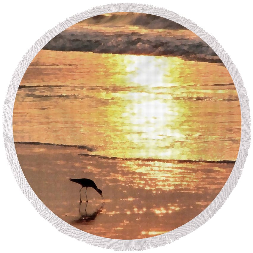 Landscape Round Beach Towel featuring the photograph The Early Bird by Todd Blanchard